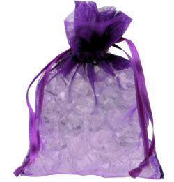 10 Purple Chiffon Favour Bags