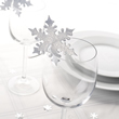 Silver Snowflake Glass Place Name Cards