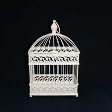 Small Rectangular Ivory Bird Cage